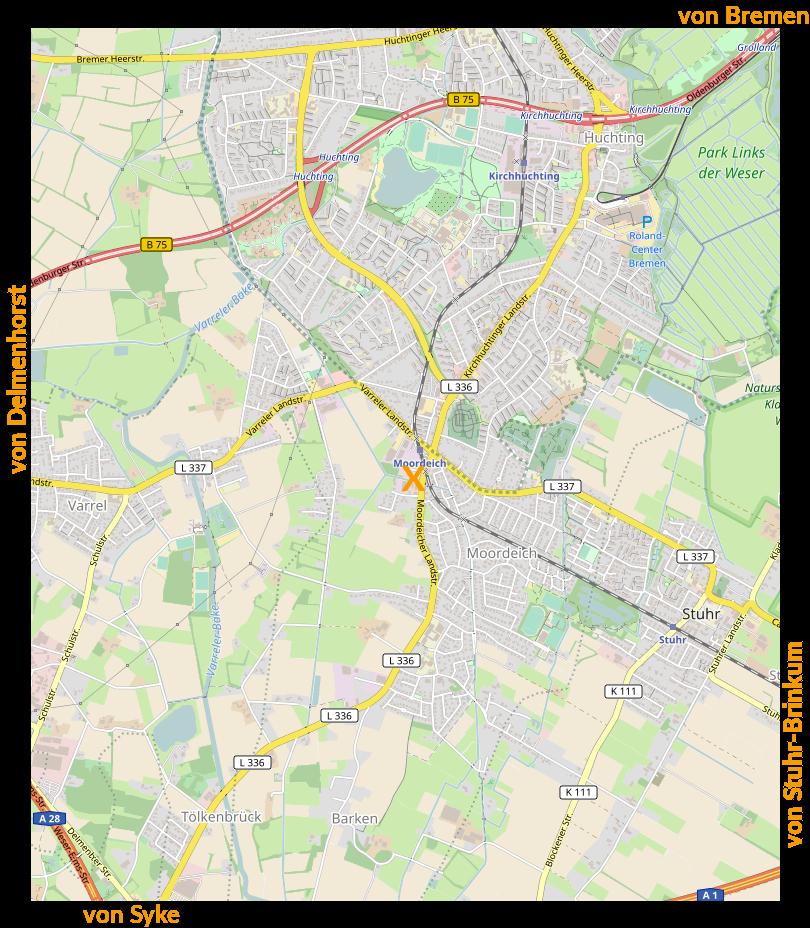 Anfahrtsskizze: Anfahrt von Bremen, von Delmenhorst, von Syke, von Stuhr-Brinkum